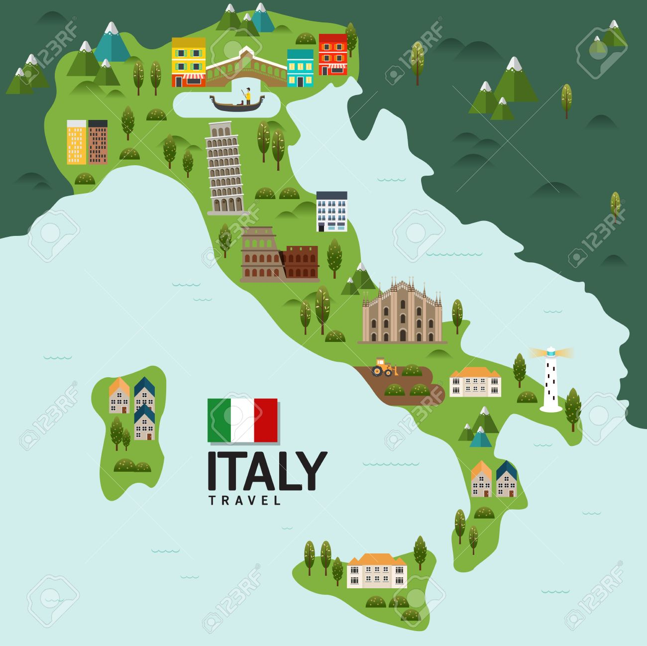 Milan To Rome >> Design Italy And Milan Rome Travel And Landmark Concept Vector