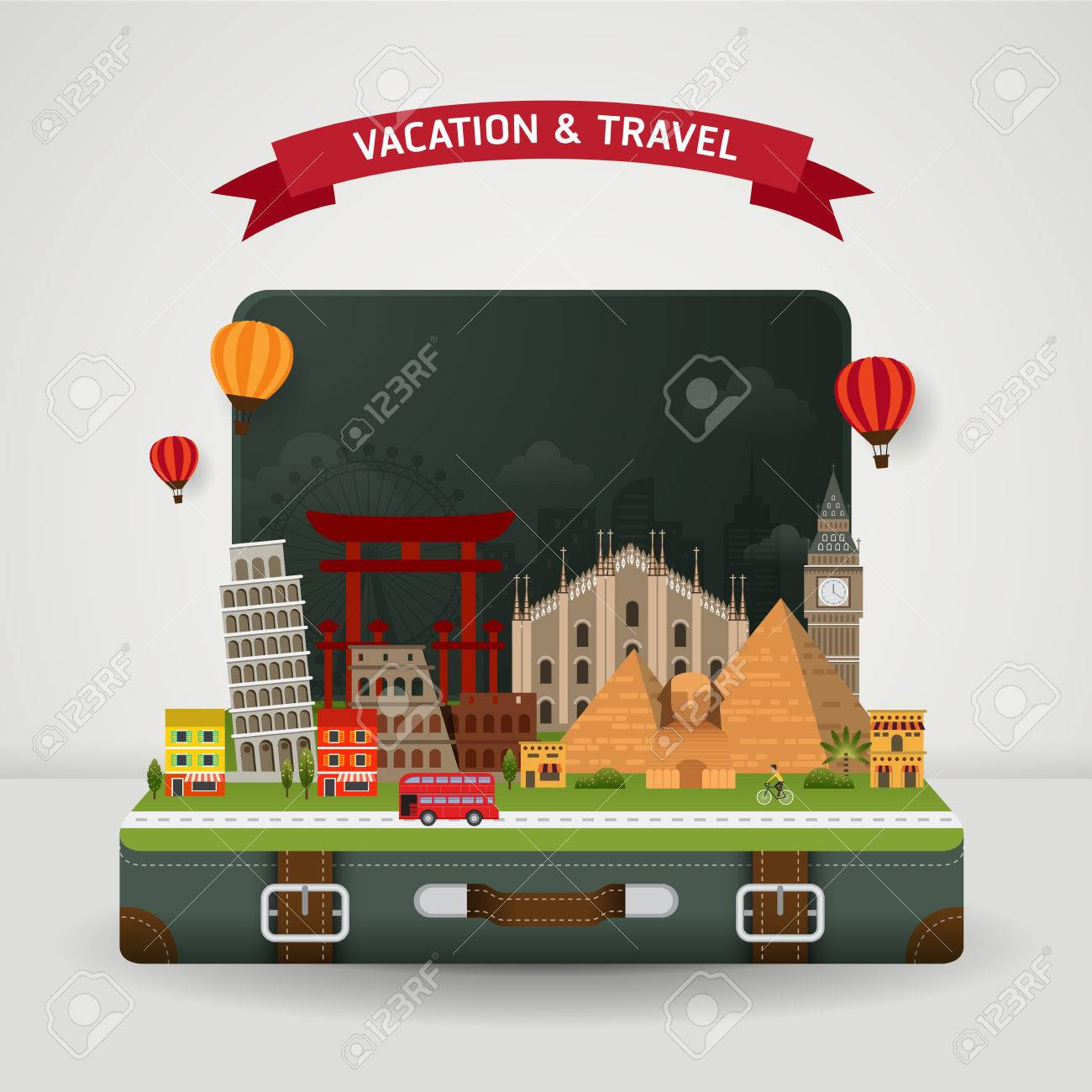 Vector of world travel and Holidays concept. Open suitcase with famous monument around the world. Stock Vector - 45625565