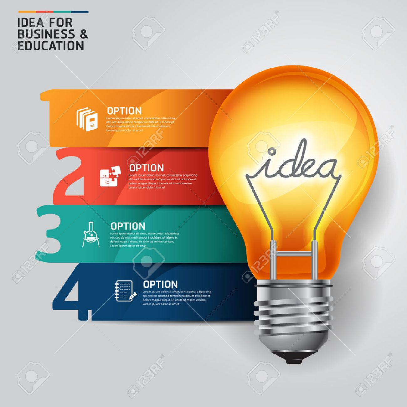 concept idea light bulb infographics design template royalty free