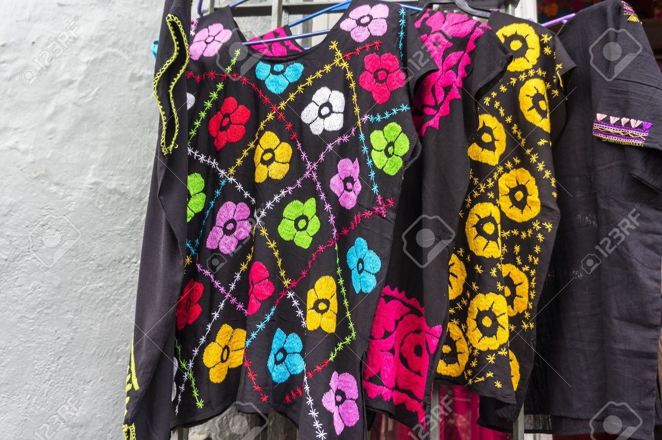 Traditional Mexican Embroidery Blouses In Colorful Patterns Stock