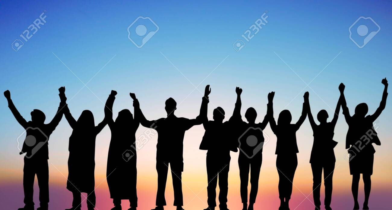 Success of teamwork collaboration and freedom on silhouette sunset background. business concept. - 131138555