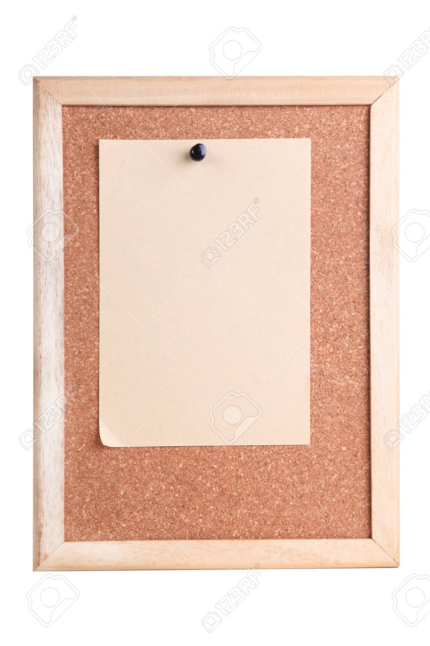 Cork Board With Wooden Frame On White Background Stock Photo ...