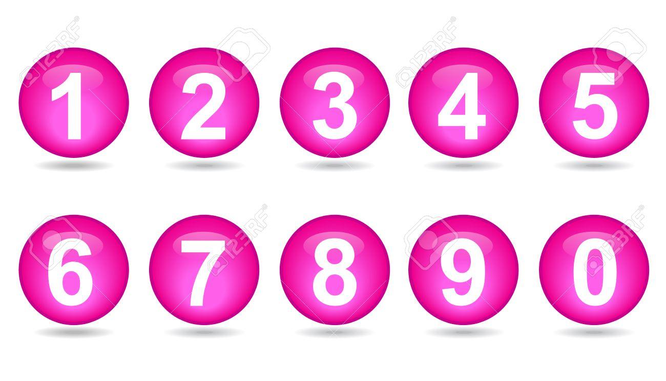 Colección De Números - Esferas De Color Rosa Ilustraciones ...