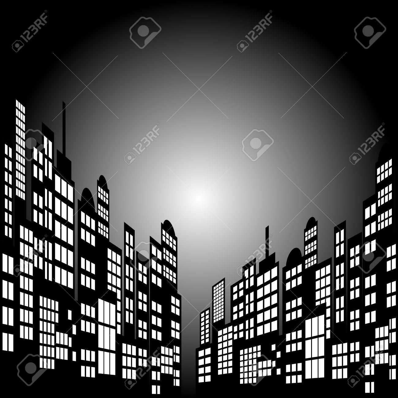 Style Cartoon Night City Skyline Background. - 60580695