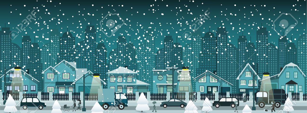 Night city in winter Stock Vector - 22577614