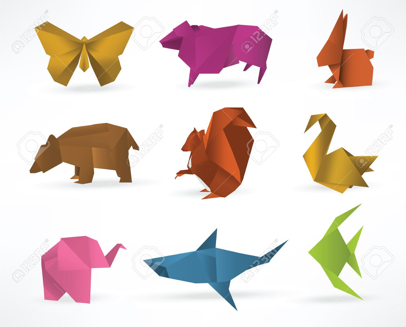 Origami japanese animal set. Modern hobby. Flat vector ... | 1048x1300