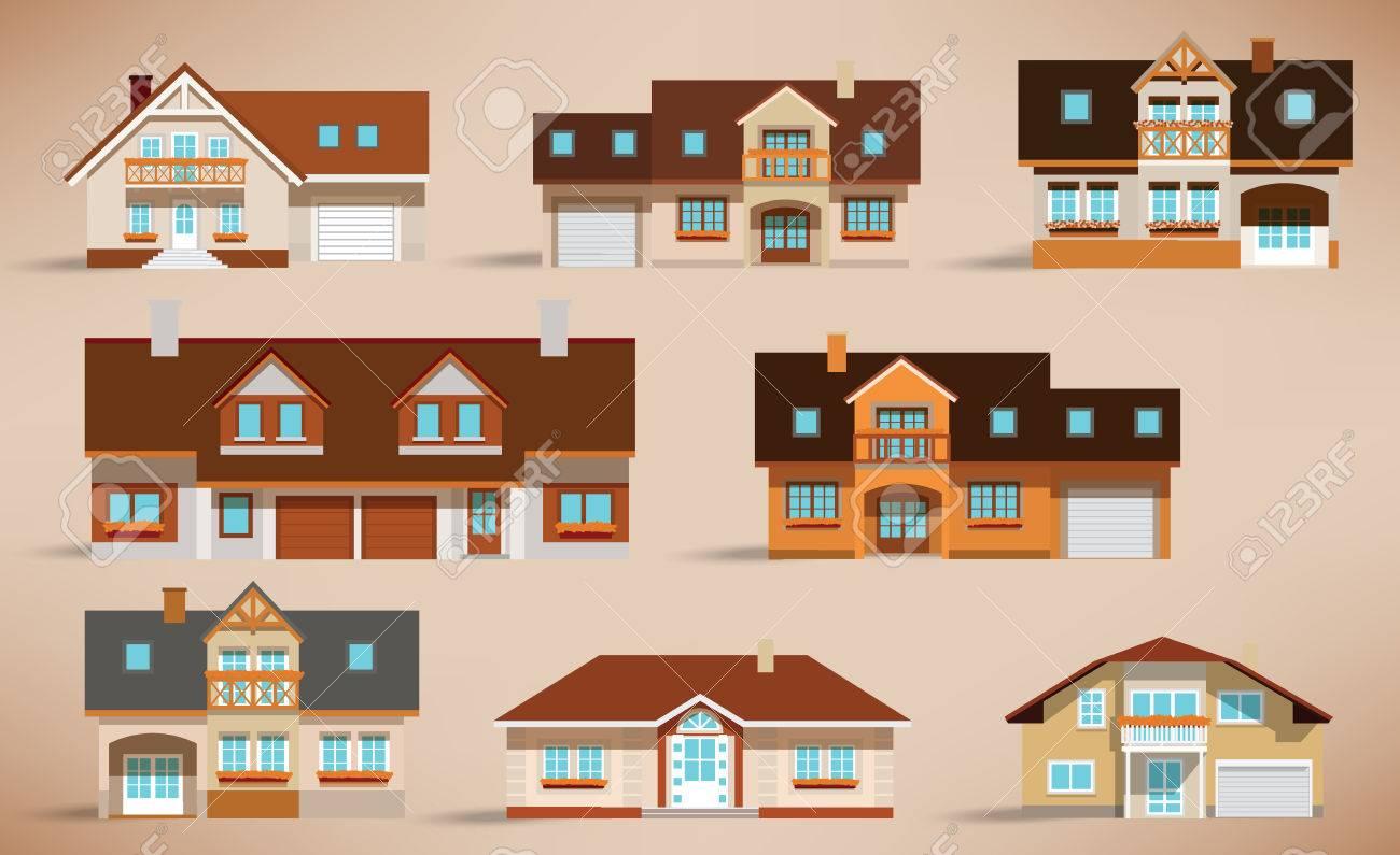 City houses  retro colors Stock Vector - 24796858