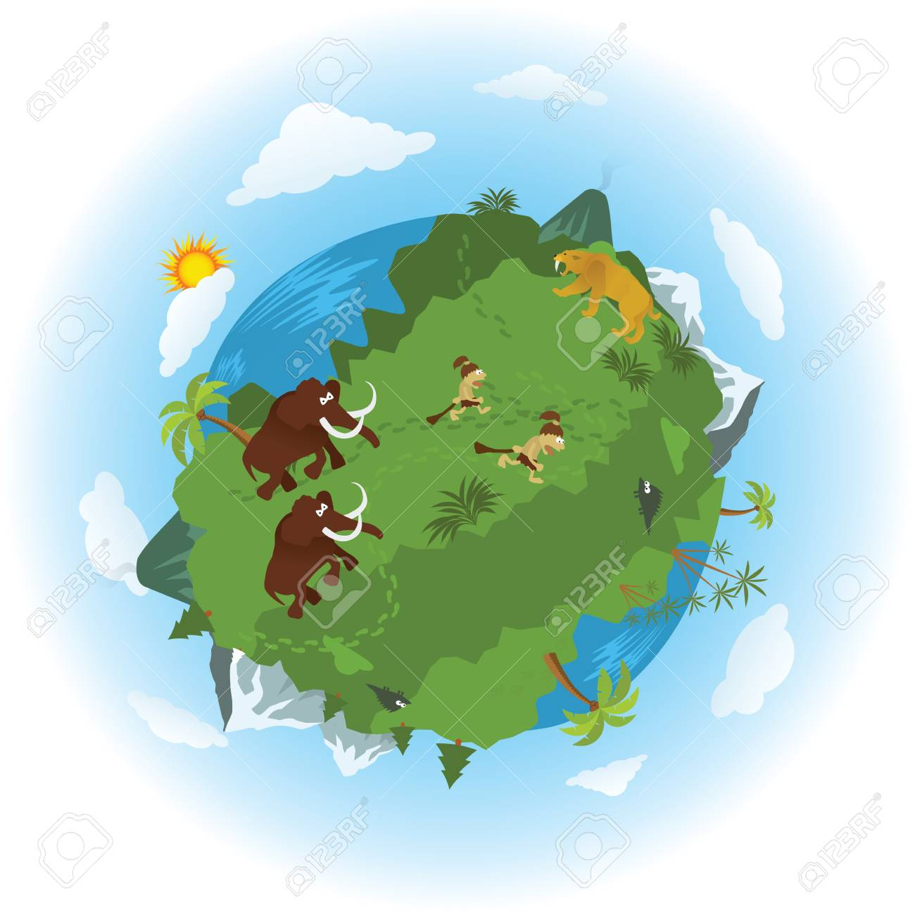 Around The Prehistoric World Royalty Free Cliparts Vectors And