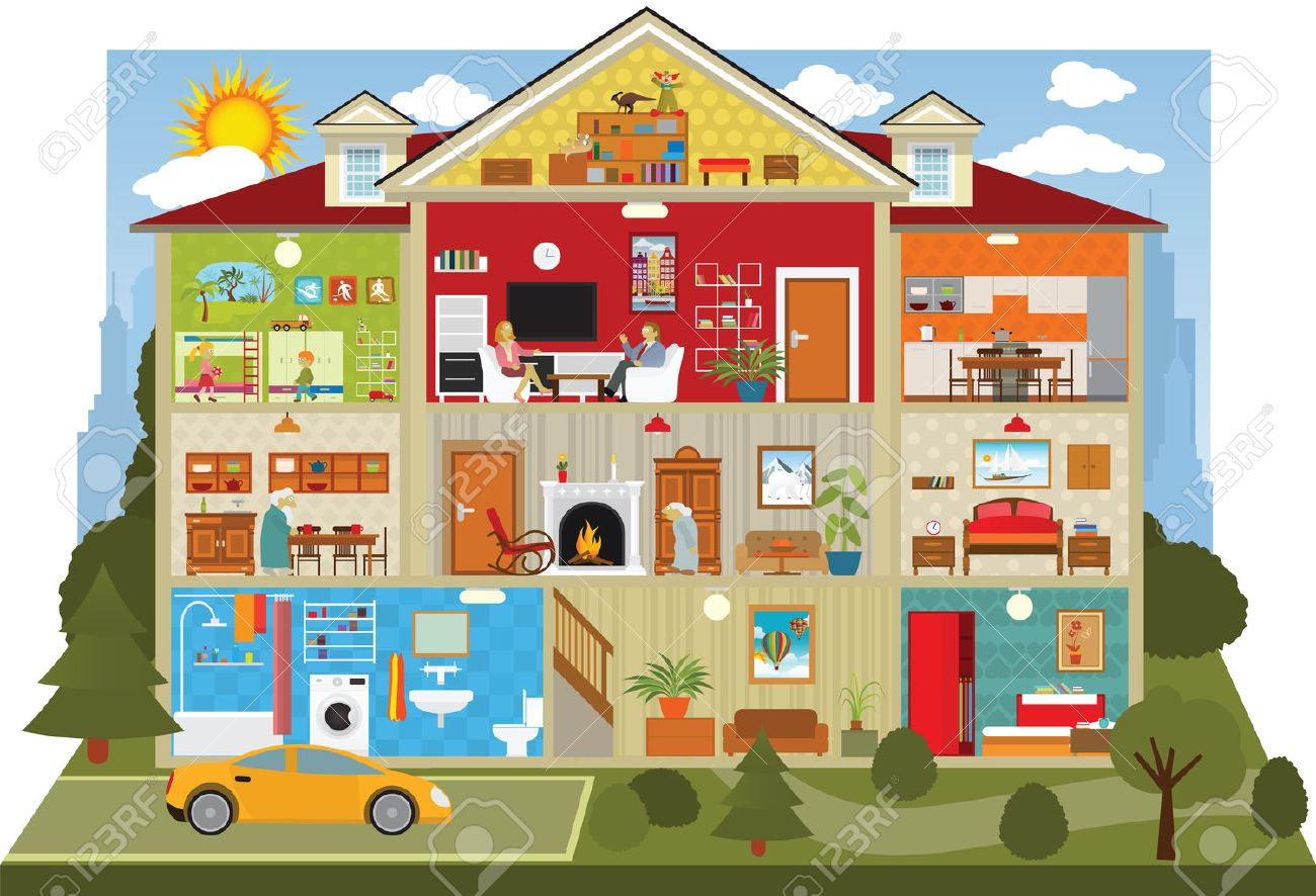 illustration of cross section of the house Stock Vector - 32730660