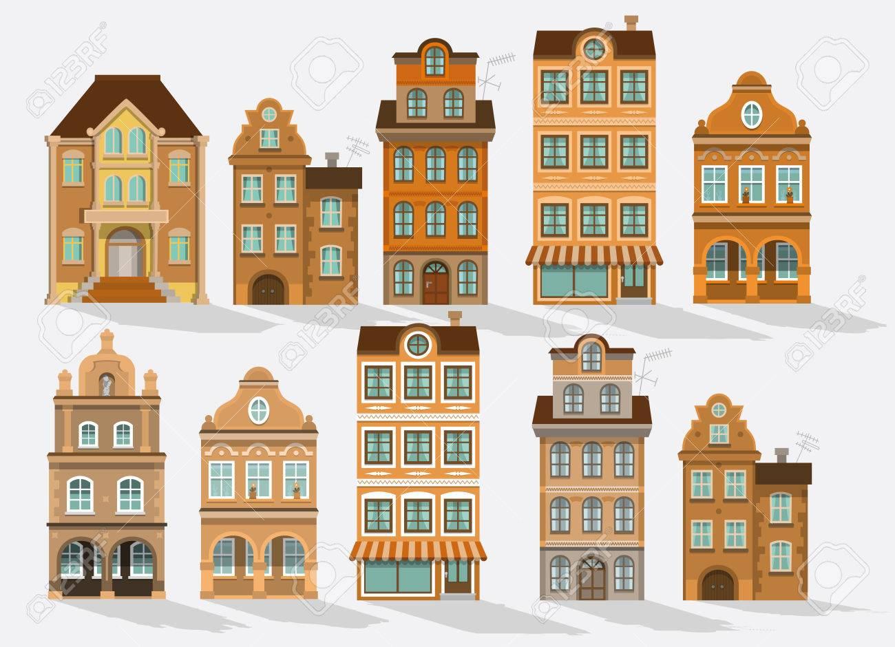 Vektor Illustration Der Historischen Häuser Retro Farben