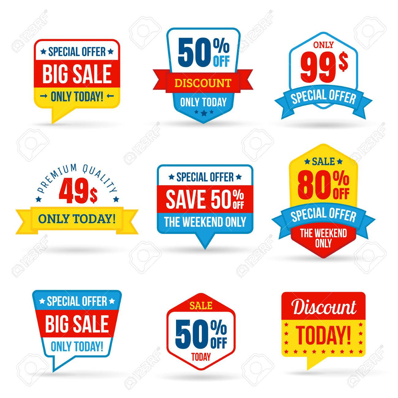 Collection of sale discount in flat design use for labels stickers labels and