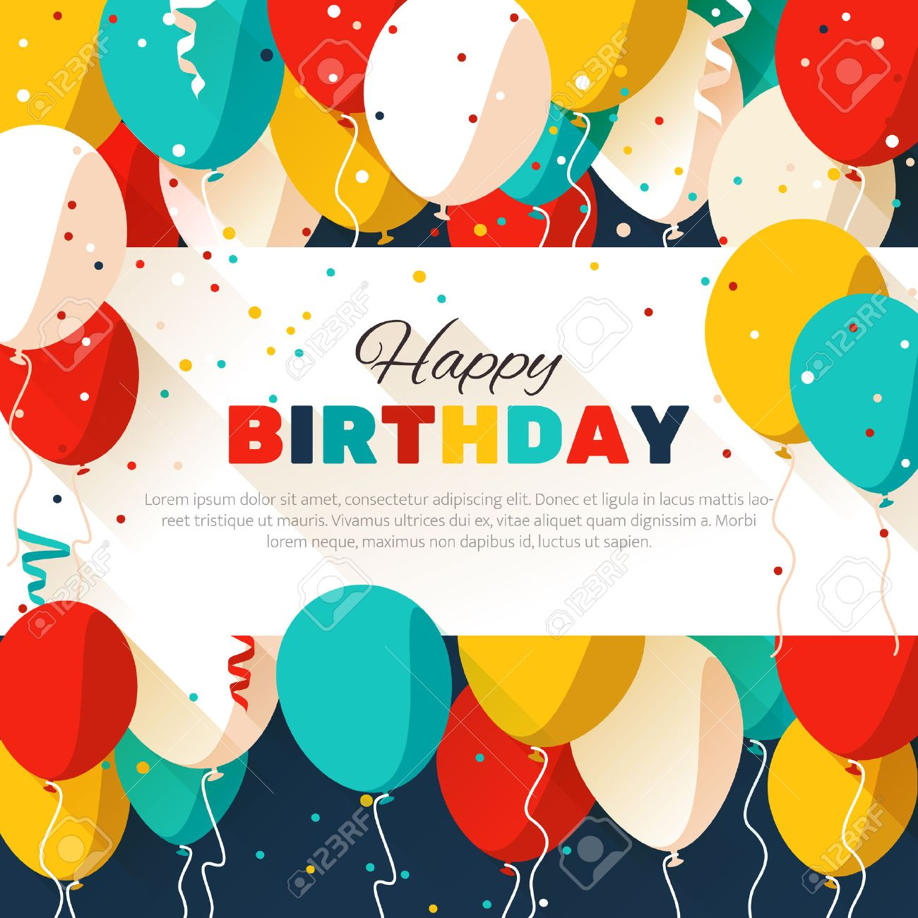 happy birthday greeting card in a flat style royalty free cliparts, Birthday card