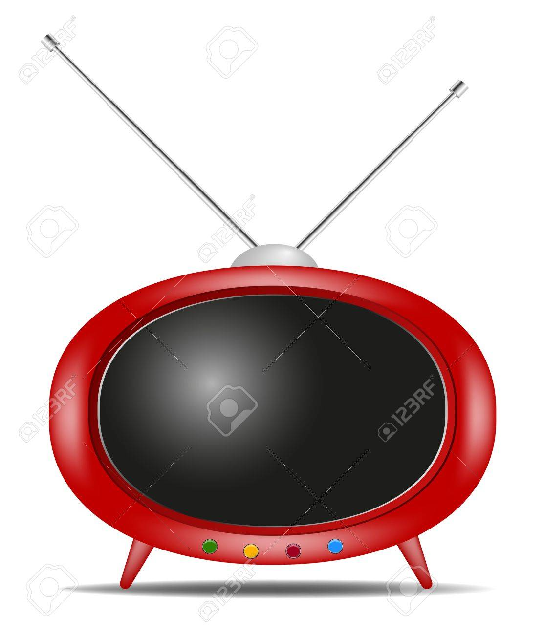 Retro TV with shadow on white background Stock Vector - 11664532