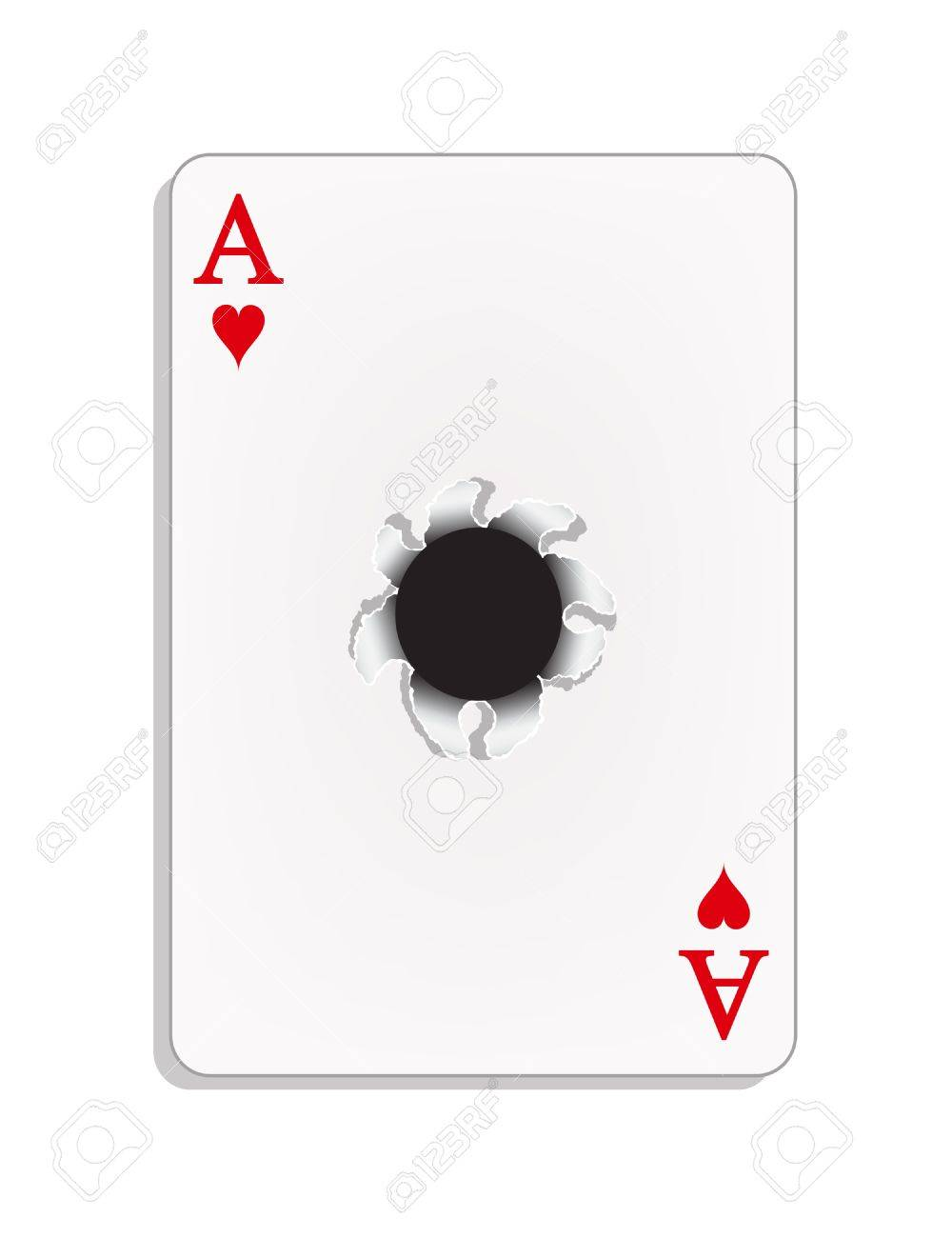 Ace of heart with a bullet hole Stock Vector - 12044975