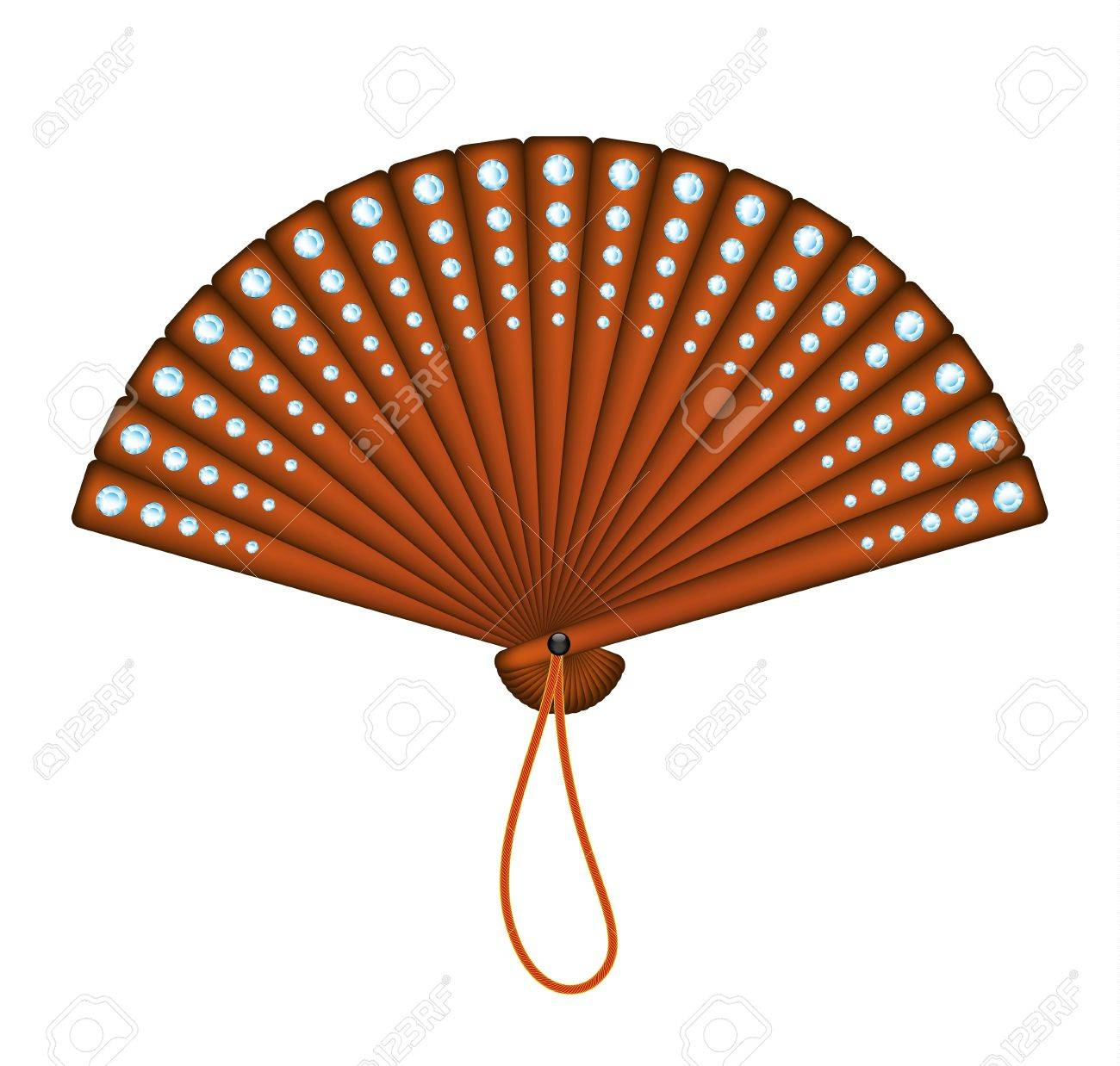 Wooden oriental fan with diamonds Stock Vector - 12793134
