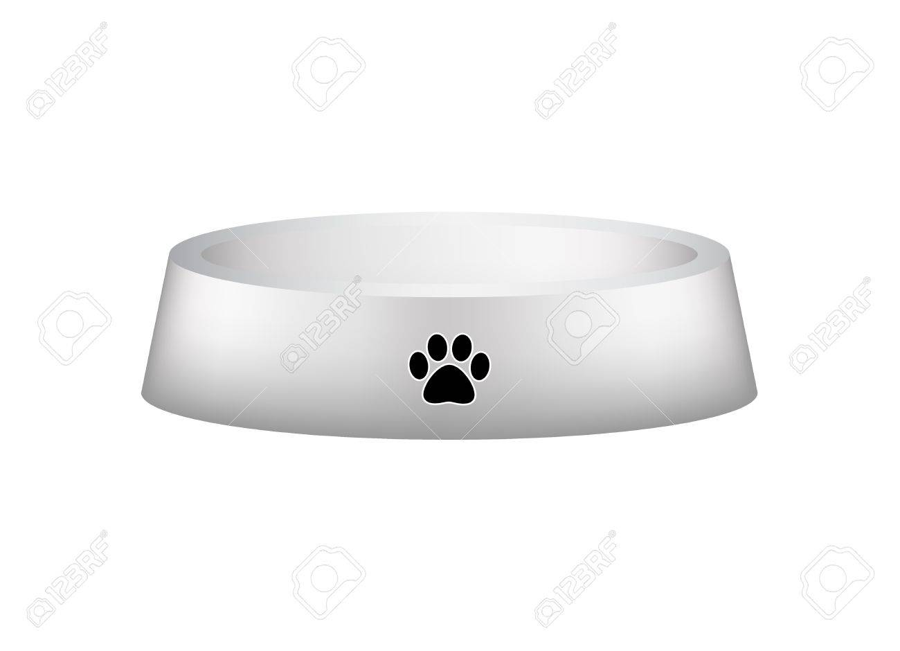 Empty dog bowl with dog s footprint  paw Stock Vector - 13801236