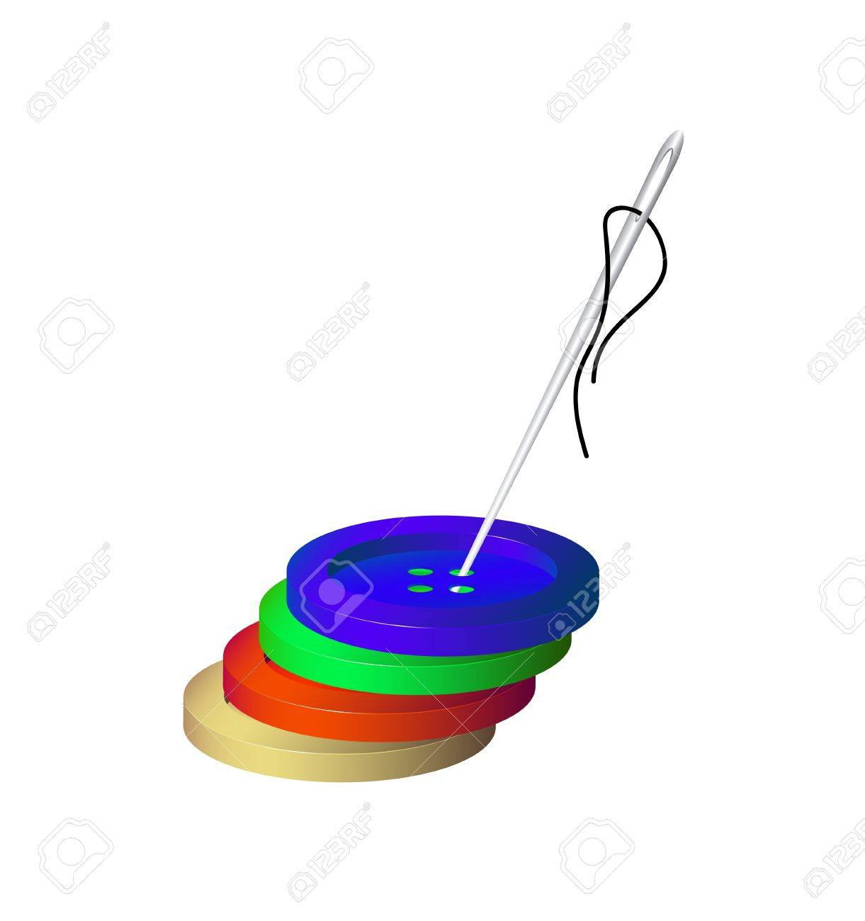 Sewing buttons and needle with cotton Stock Vector - 19382686