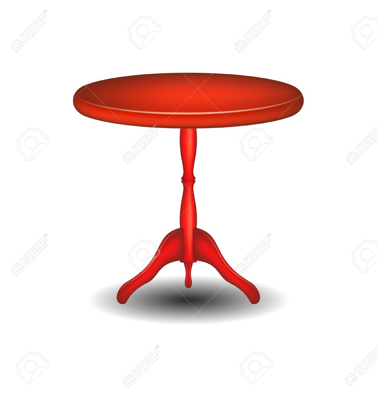 Round Table Madera.Wooden Round Table In Red Design