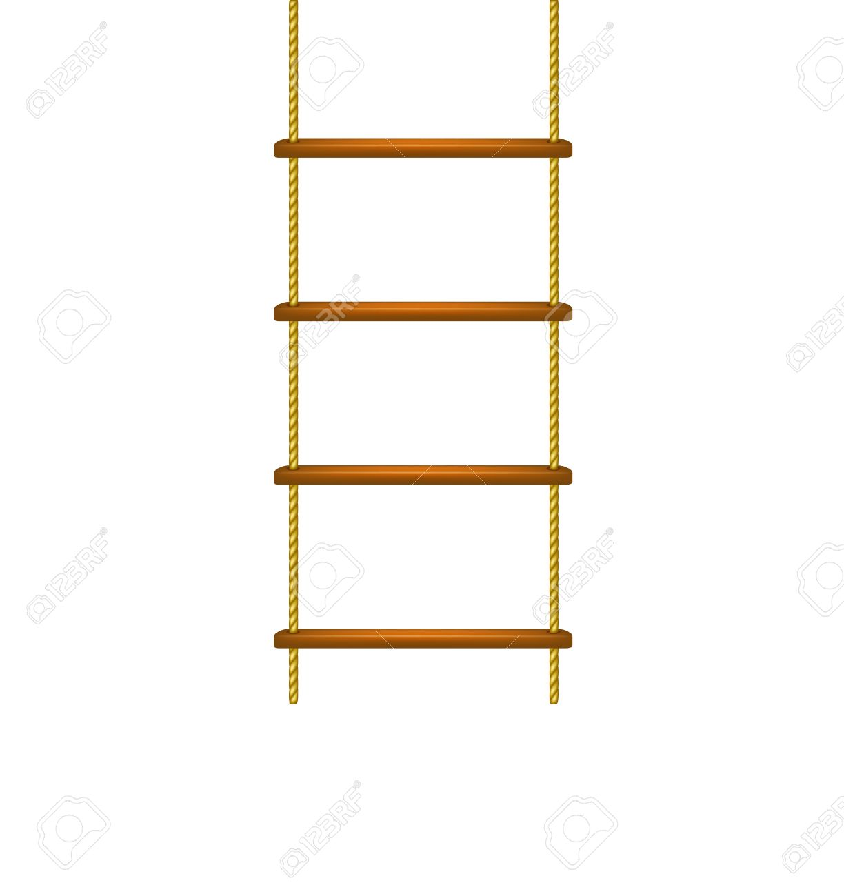 escalera de cuerda de madera foto de archivo