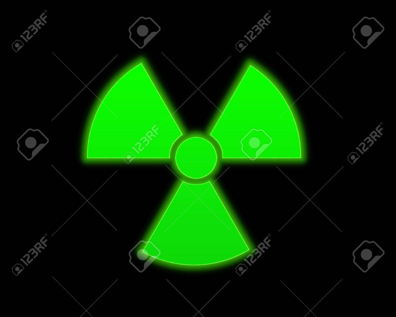 the green radioactive symbol on black background Stock Photo - 2731244