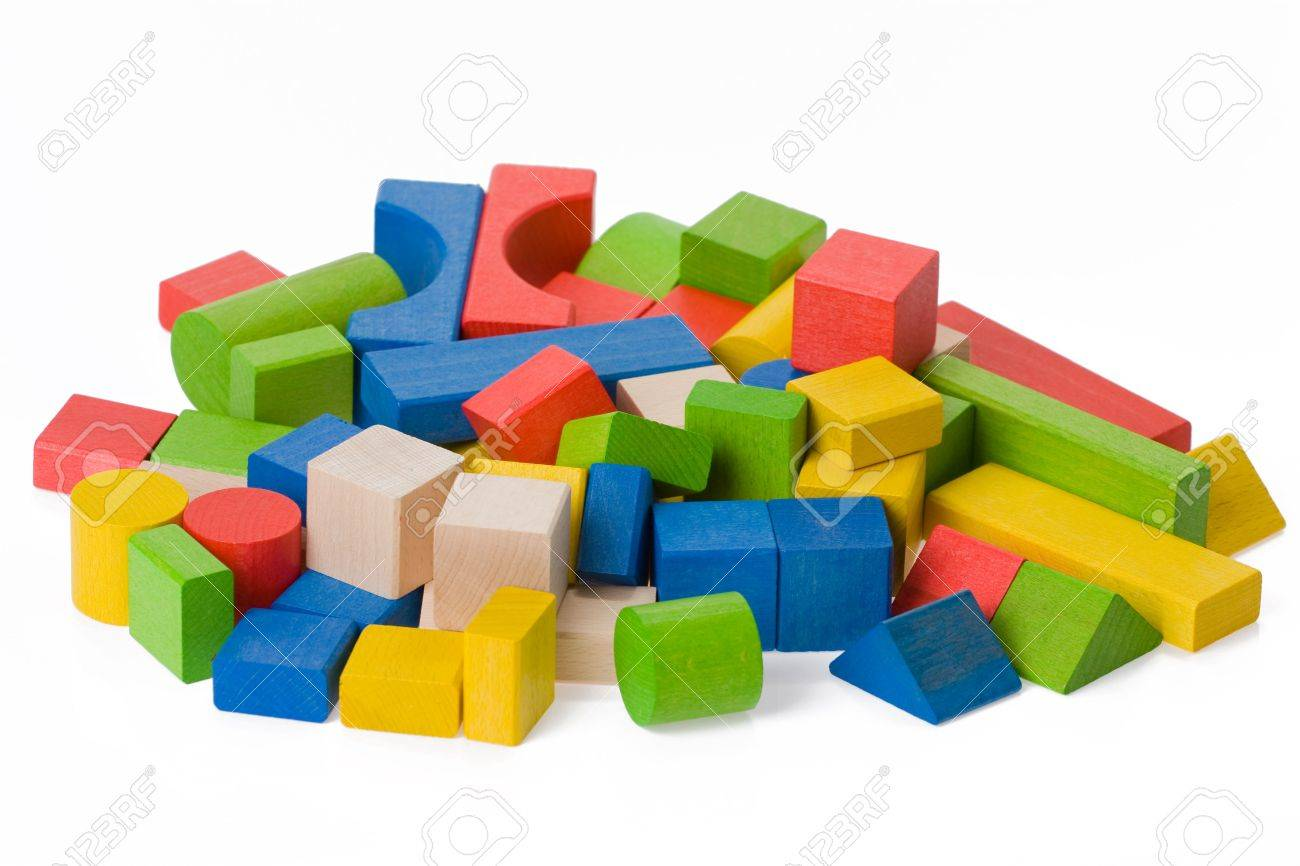 Wooden toy blocks on white background Stock Photo - 5316934