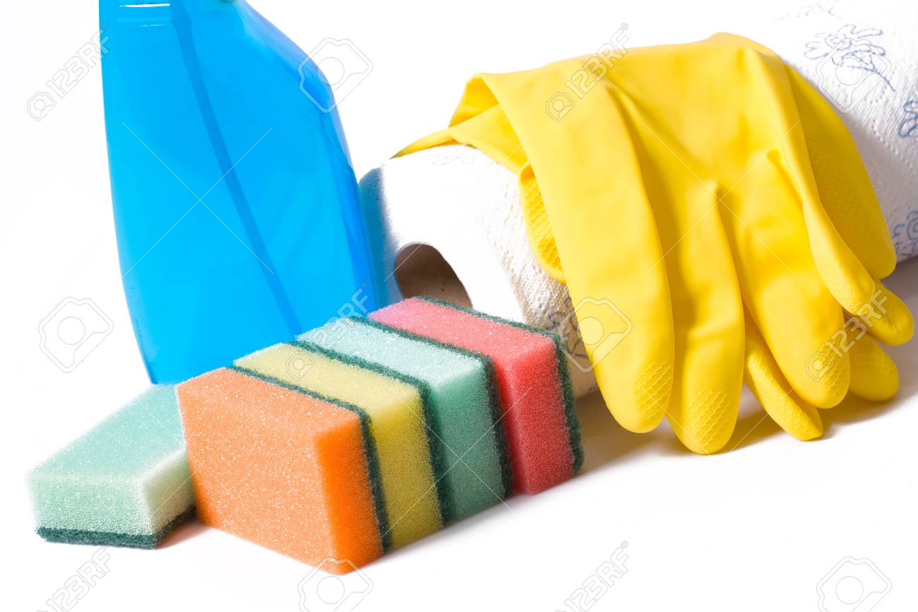 cleaning supplies isolated on white background Stock Photo - 5466149