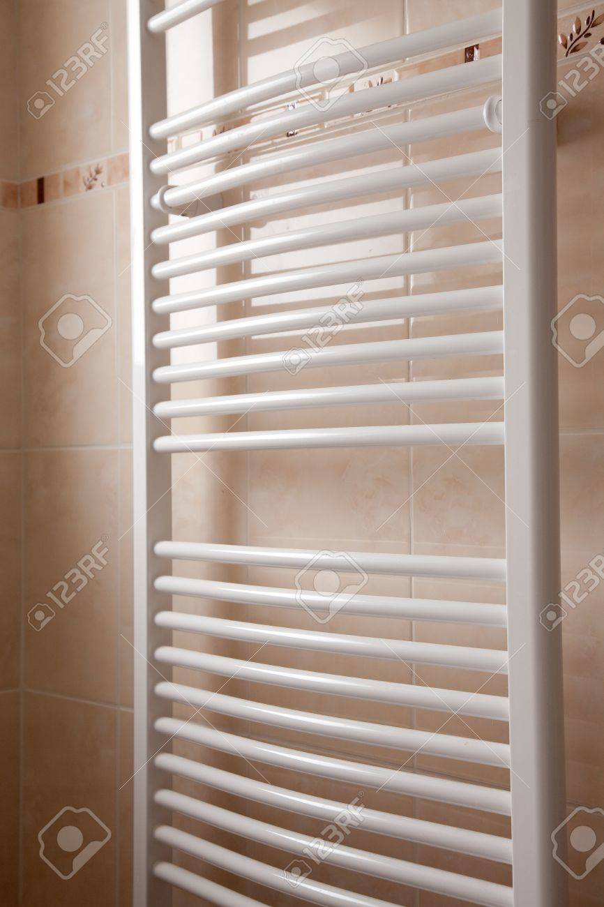 Modern Bathroom Heater On Marble Wall Stock Photo Picture And