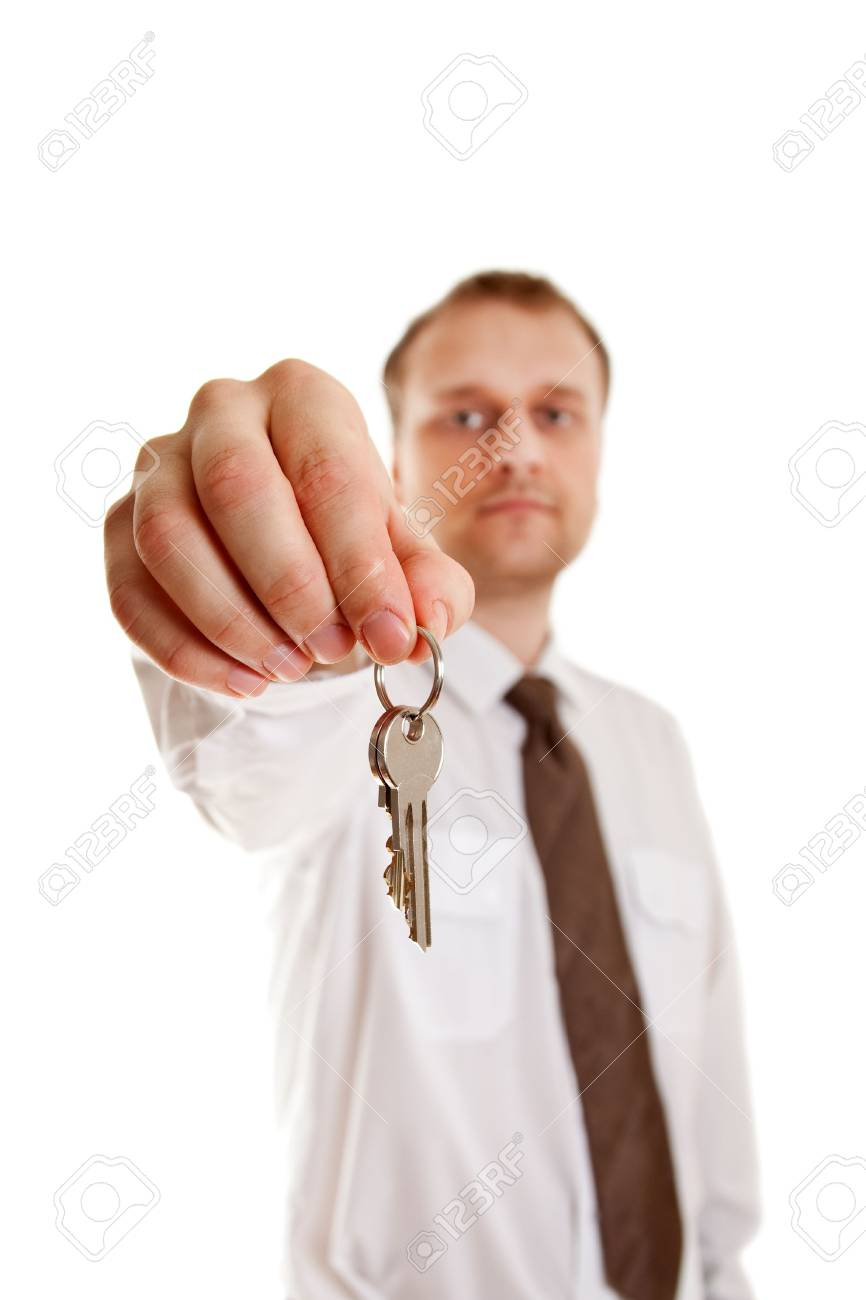 keys in hand on white background Stock Photo - 6799265