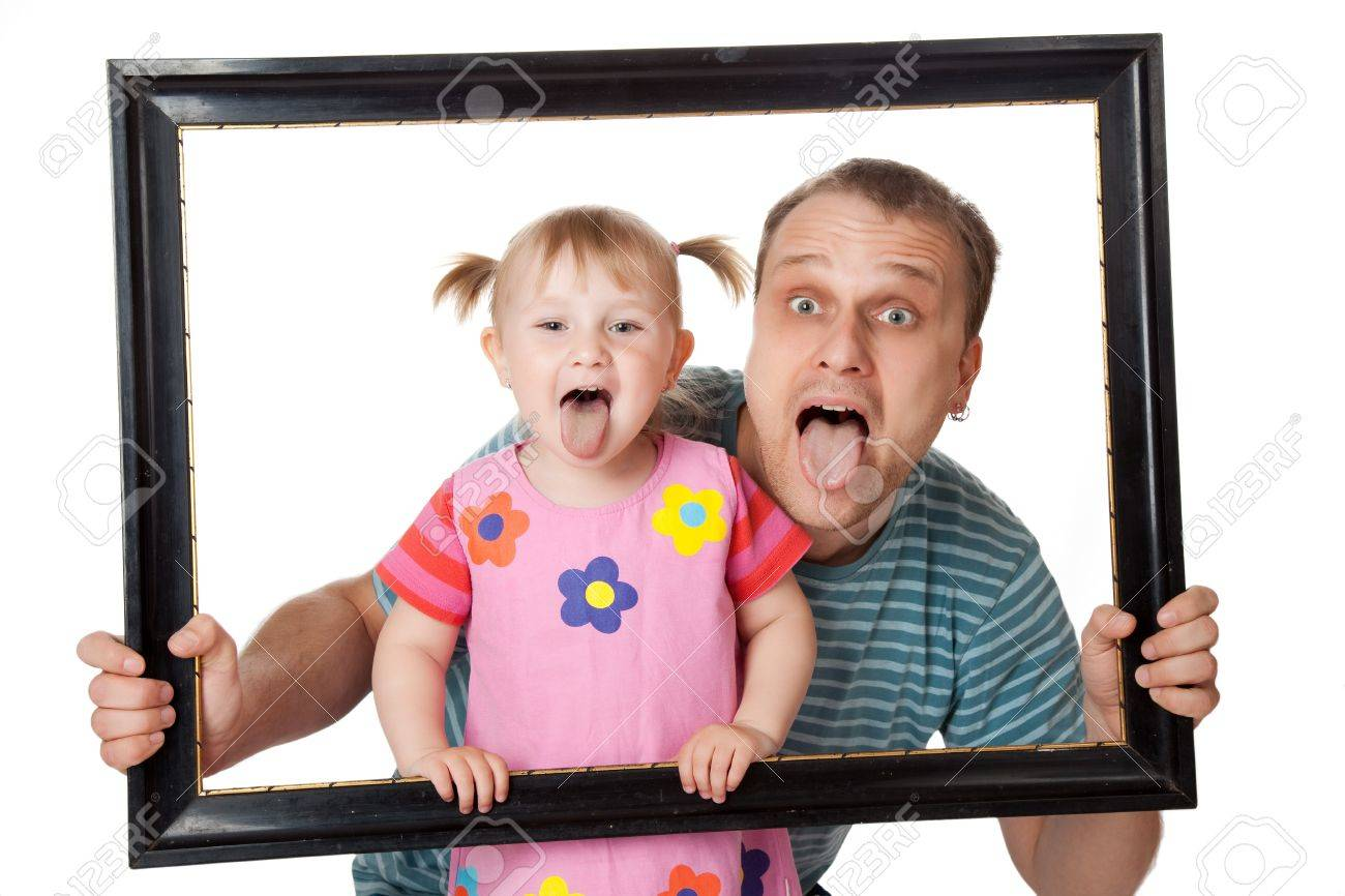 little girl with her dad in  wooden frame Stock Photo - 6981087