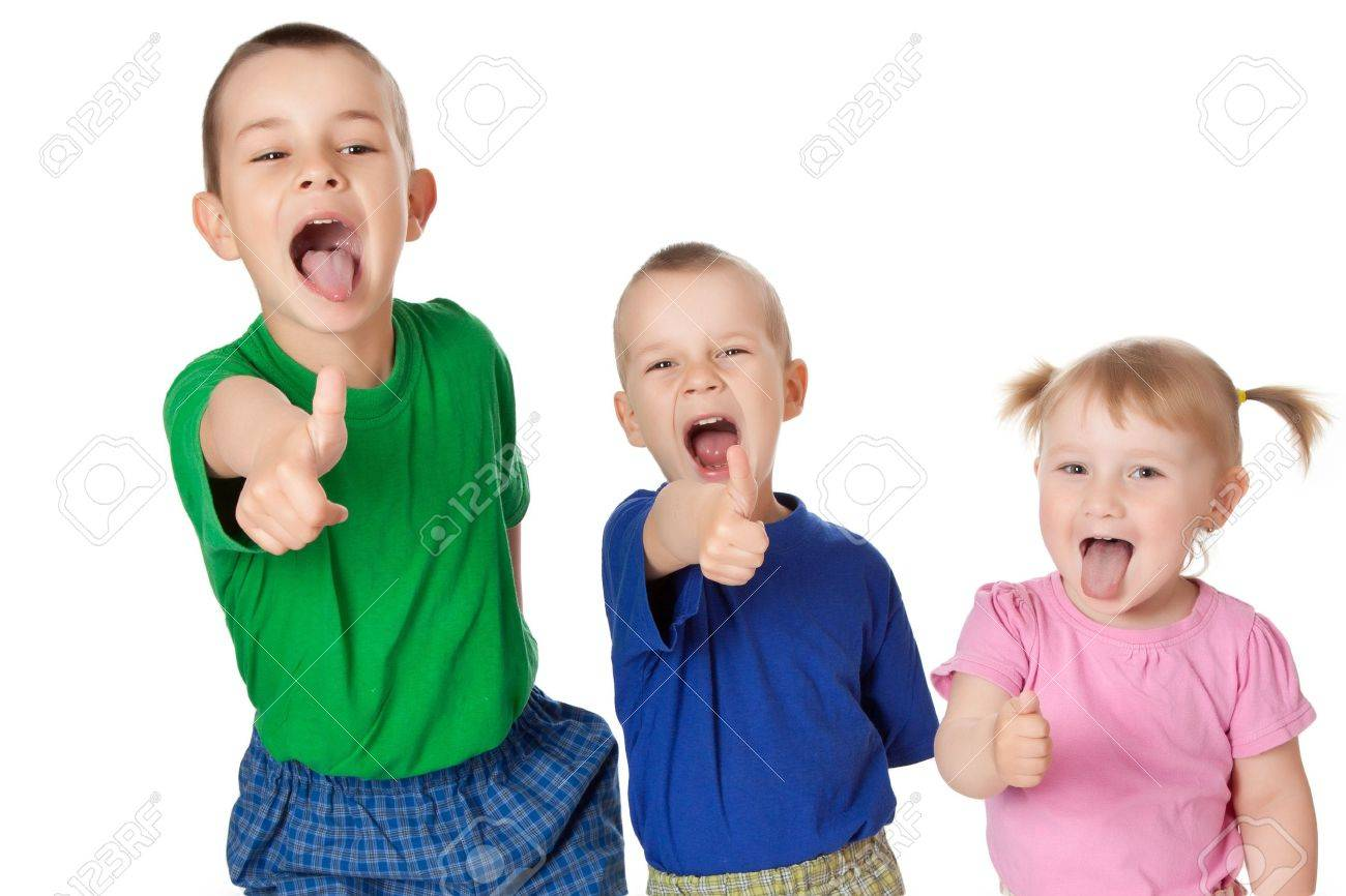three siblings showing thumbs up Stock Photo - 7019950