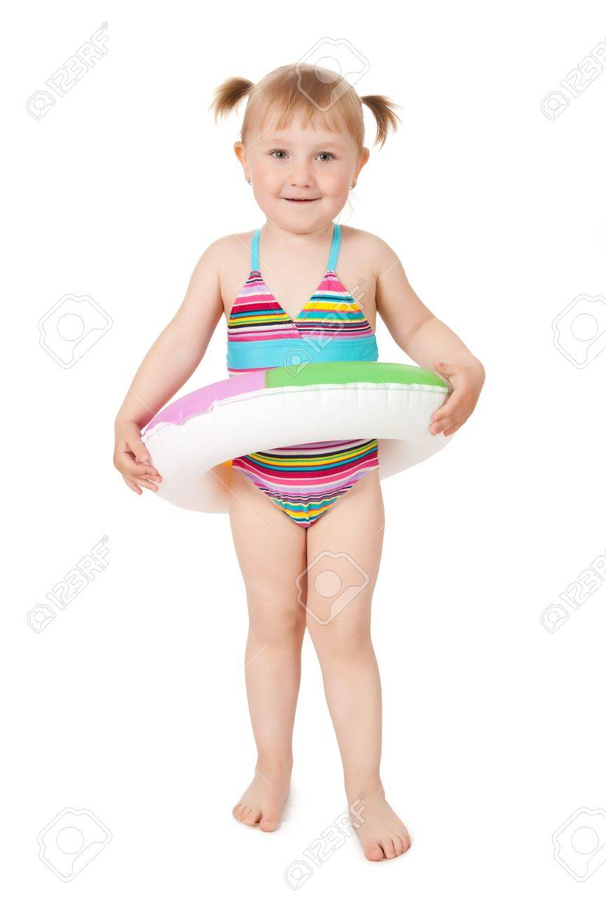 studio shot of young girl in swimsuits Stock Photo - 7019946