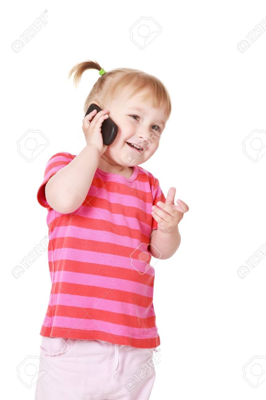 studio shot of little girl with cellphone Stock Photo - 7070038