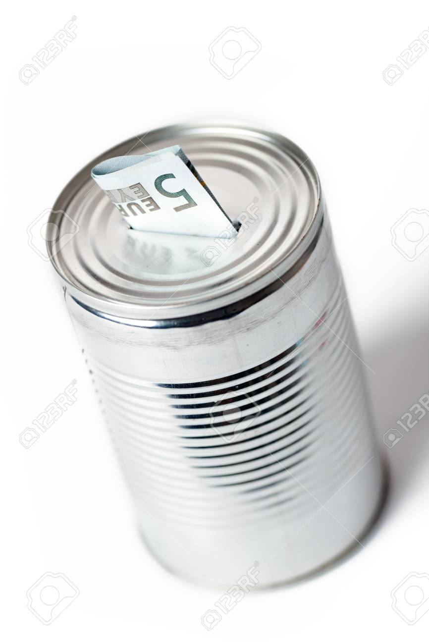 photo shot of paper currency in tin can Stock Photo - 7213292