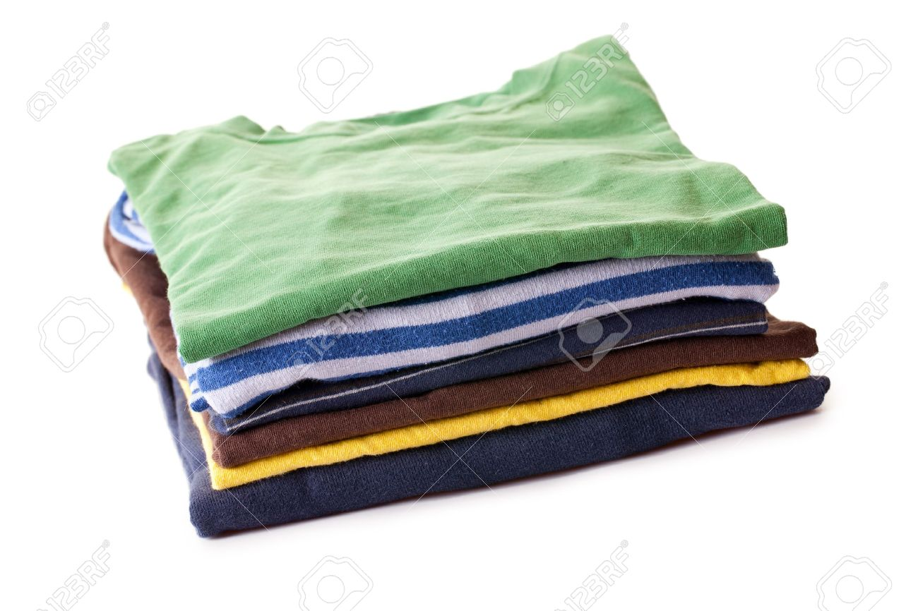 pile of t-shirts on white background Stock Photo - 7266587