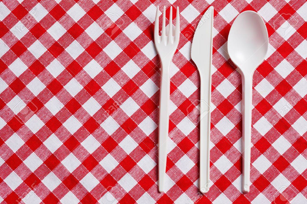The Plastic Cutlery On Checkered Tablecloth Stock Photo   8593344