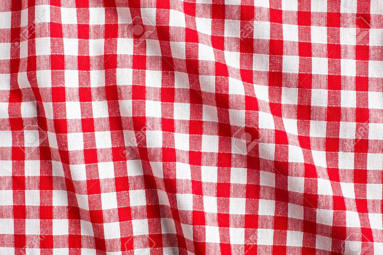 Checkered Tablecloth: The White And Red Checkered Background