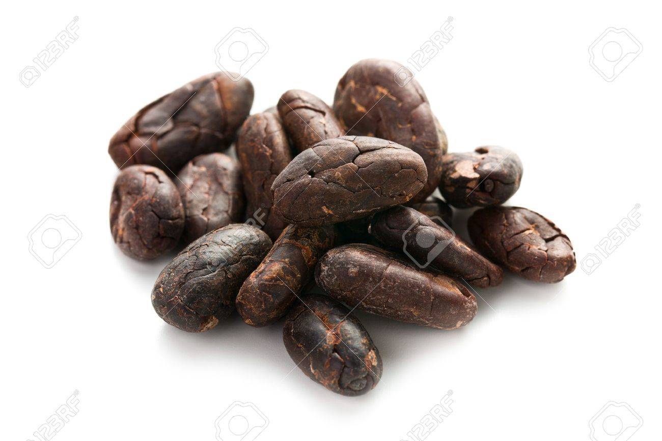 Cocoa Beans On White Background Stock Photo, Picture And Royalty ...