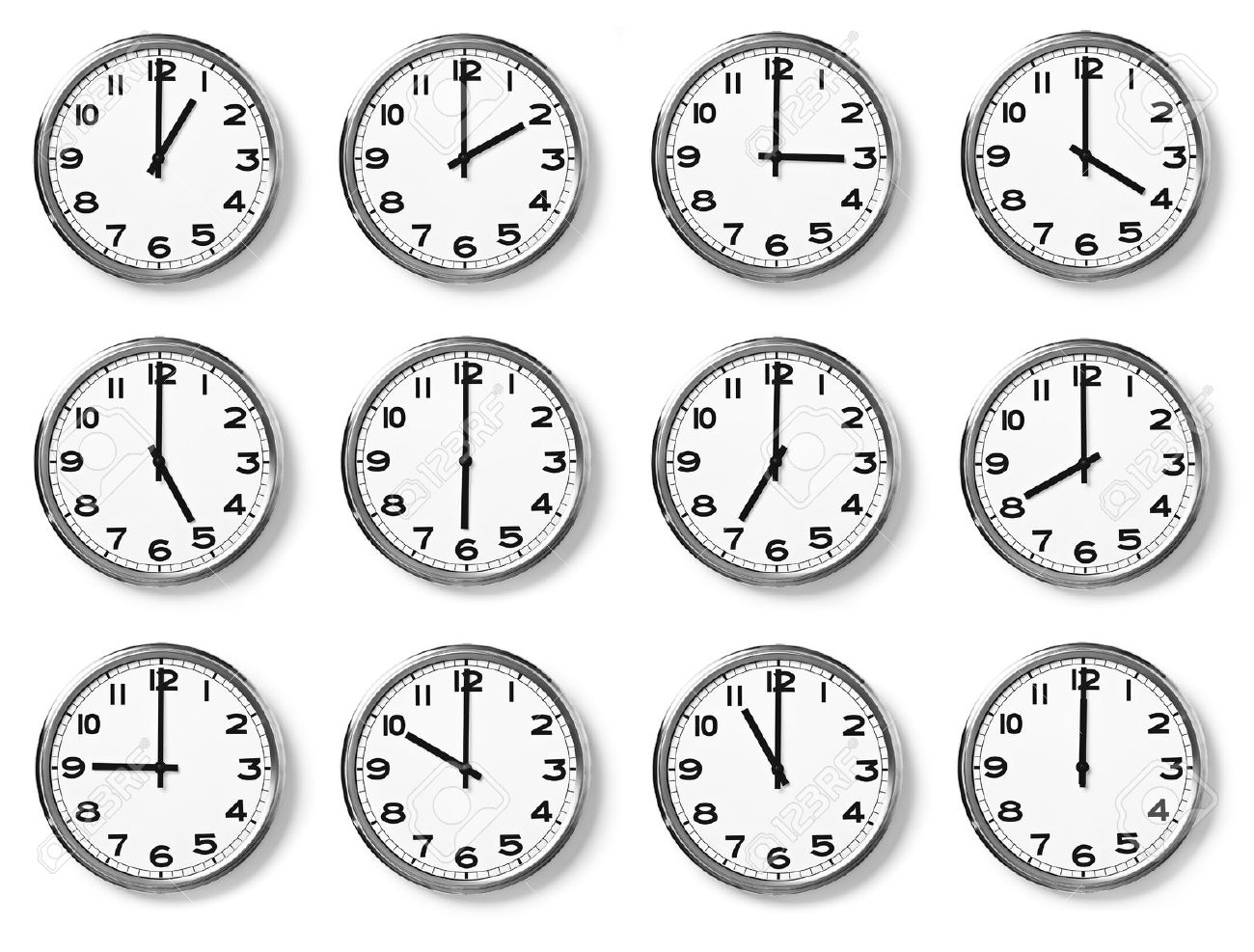 set of wall clocks with another times Stock Photo - 14469835