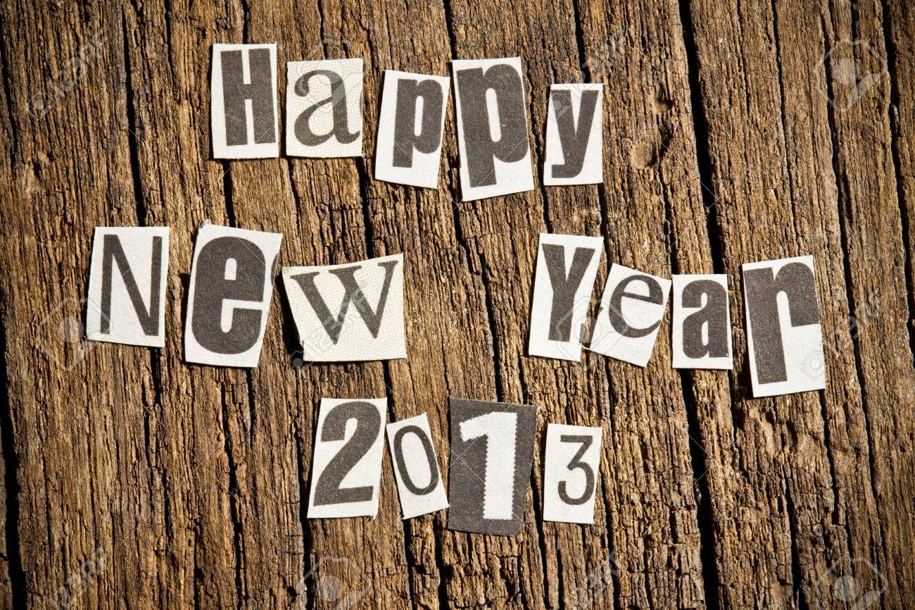 New Year wishes  Shot with newspaper letters Stock Photo - 14941551