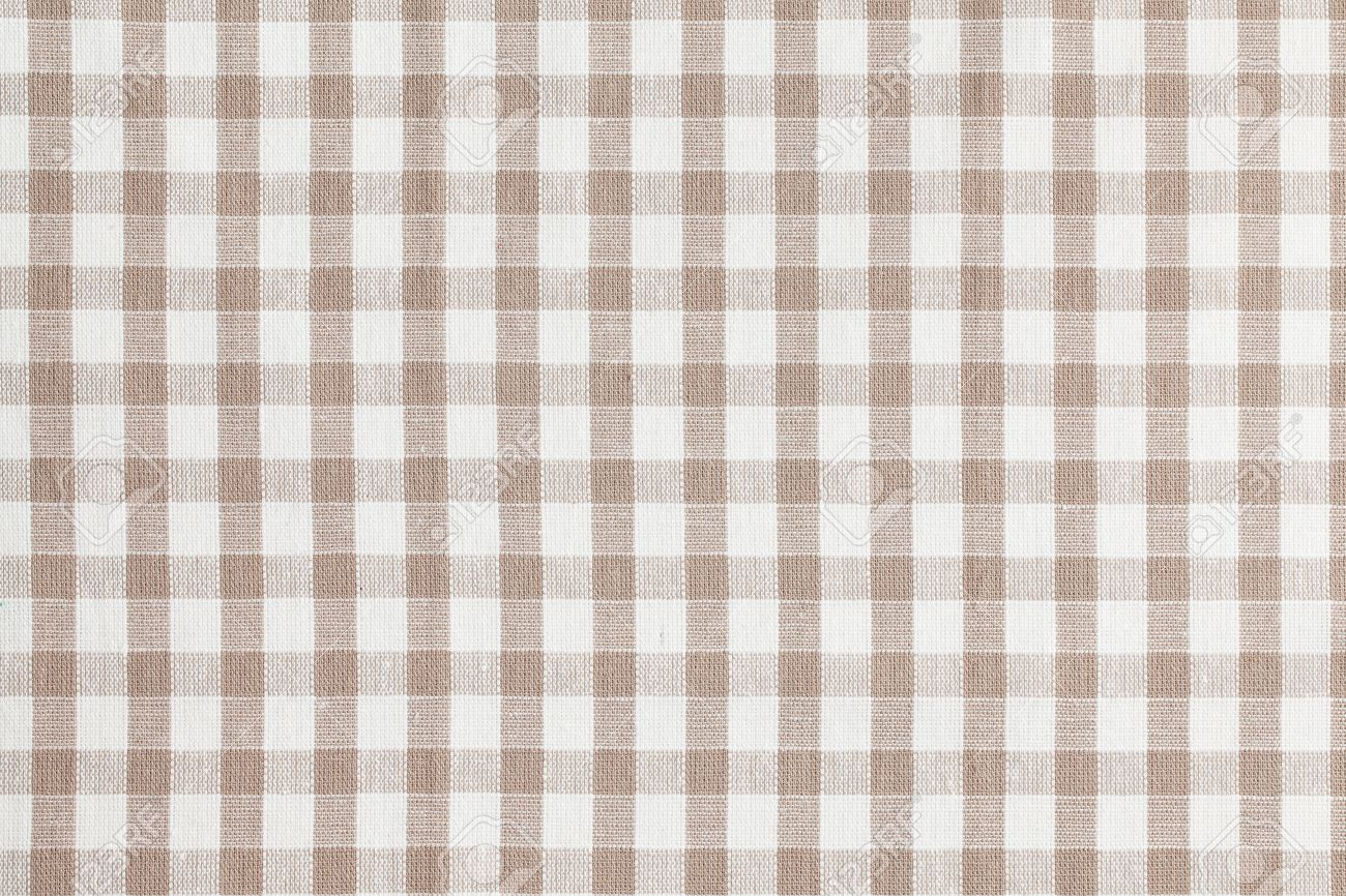 Gentil Photo Shot Of Beige Checkered Fabric. Tablecloth Texture Stock Photo    16326619