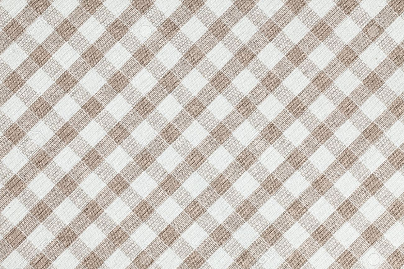 Charmant Photo Shot Of Beige Checkered Fabric. Tablecloth Texture Stock Photo    16326629