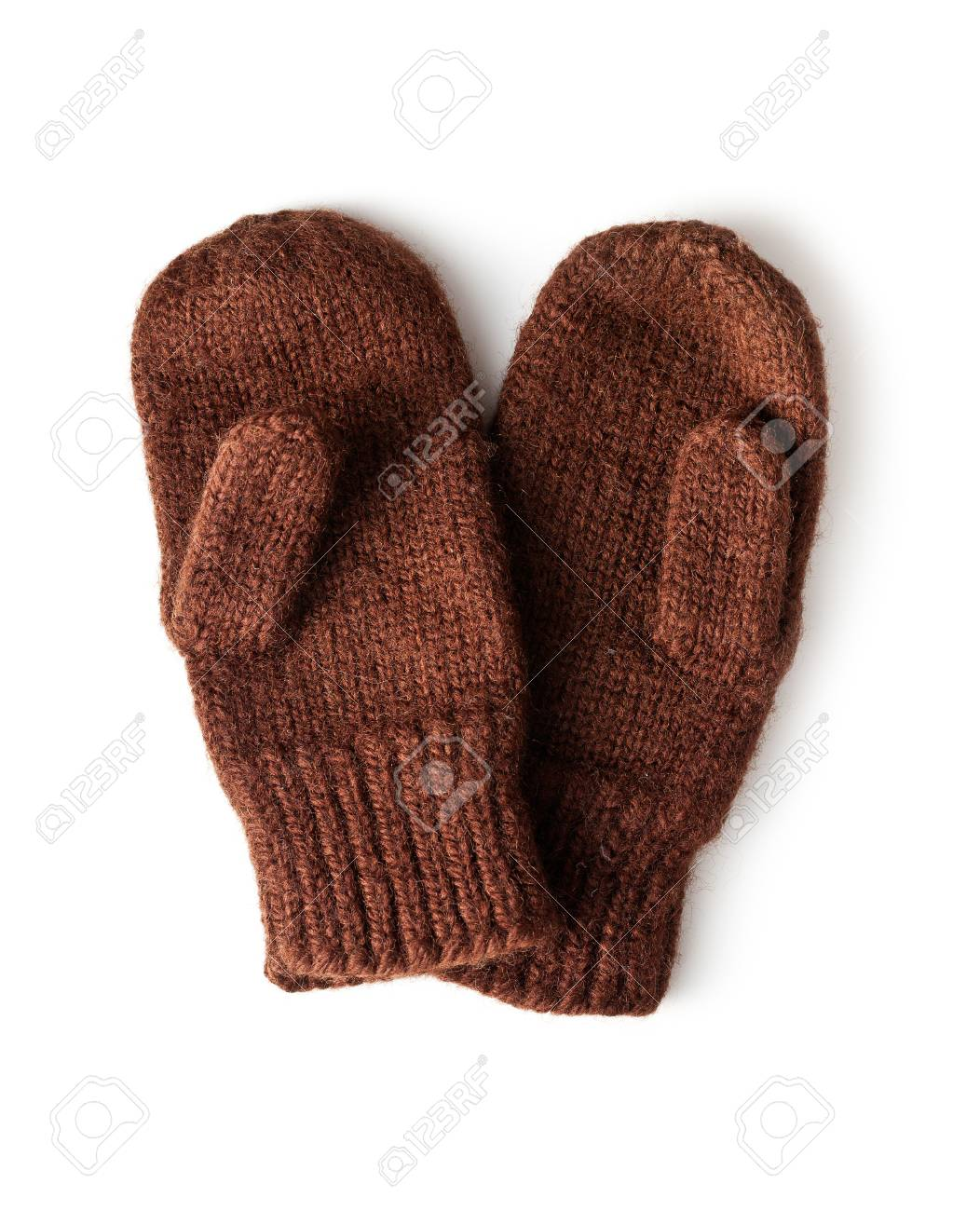 aliexpress shades of separation shoes Brown Knitted Mittens On White Background Stock Photo, Picture And ...