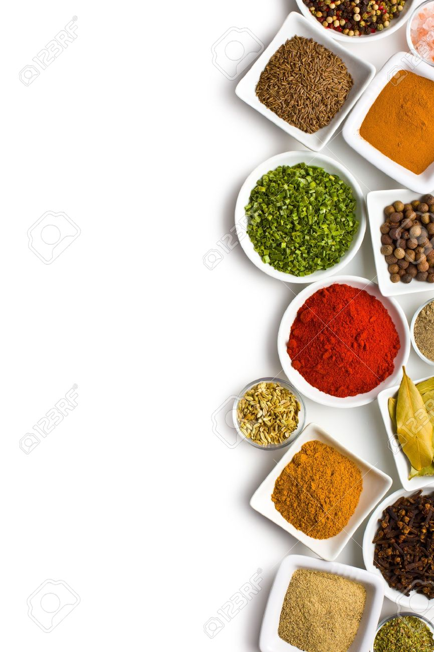 Various spices and herbs on white background. - 18005393