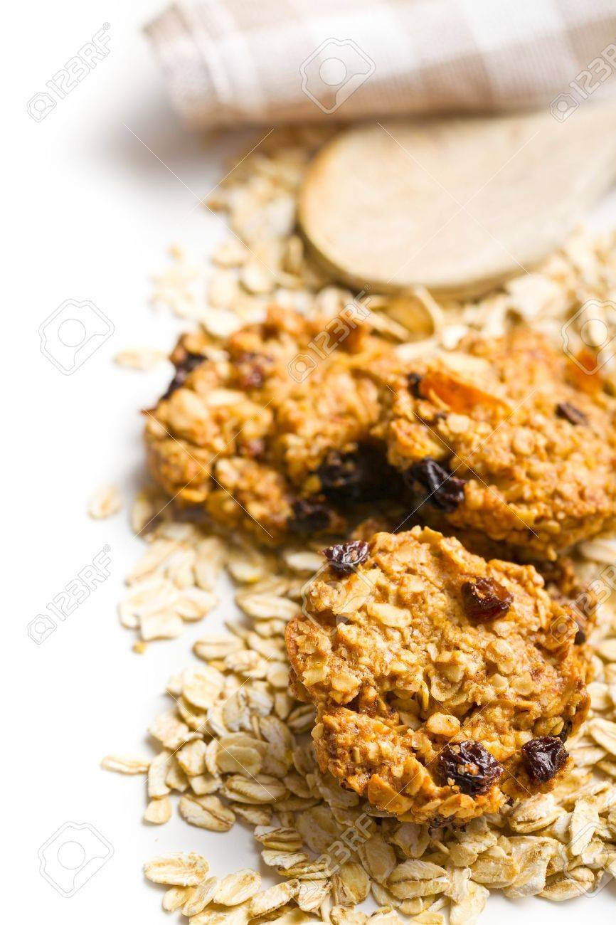 homemade cookie with oat flakes on white background Stock Photo - 18289096