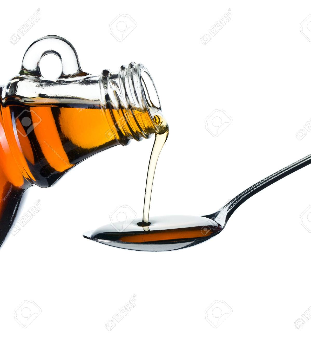 99cd1986093 maple syrup pouring on spoon on white background Stock Photo - 23107735
