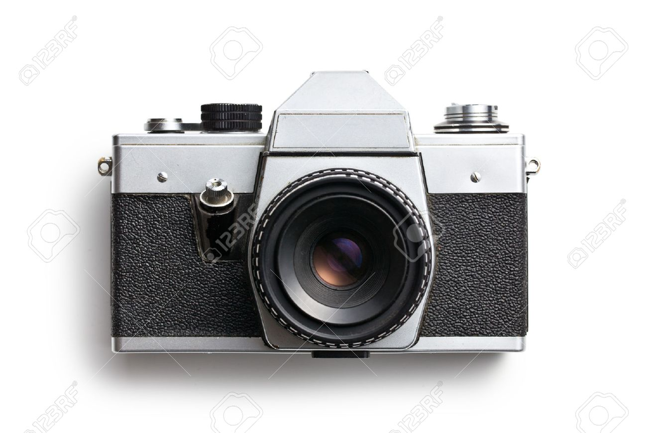 Top View Of Old Camera On White Background Stock Photo, Picture ...