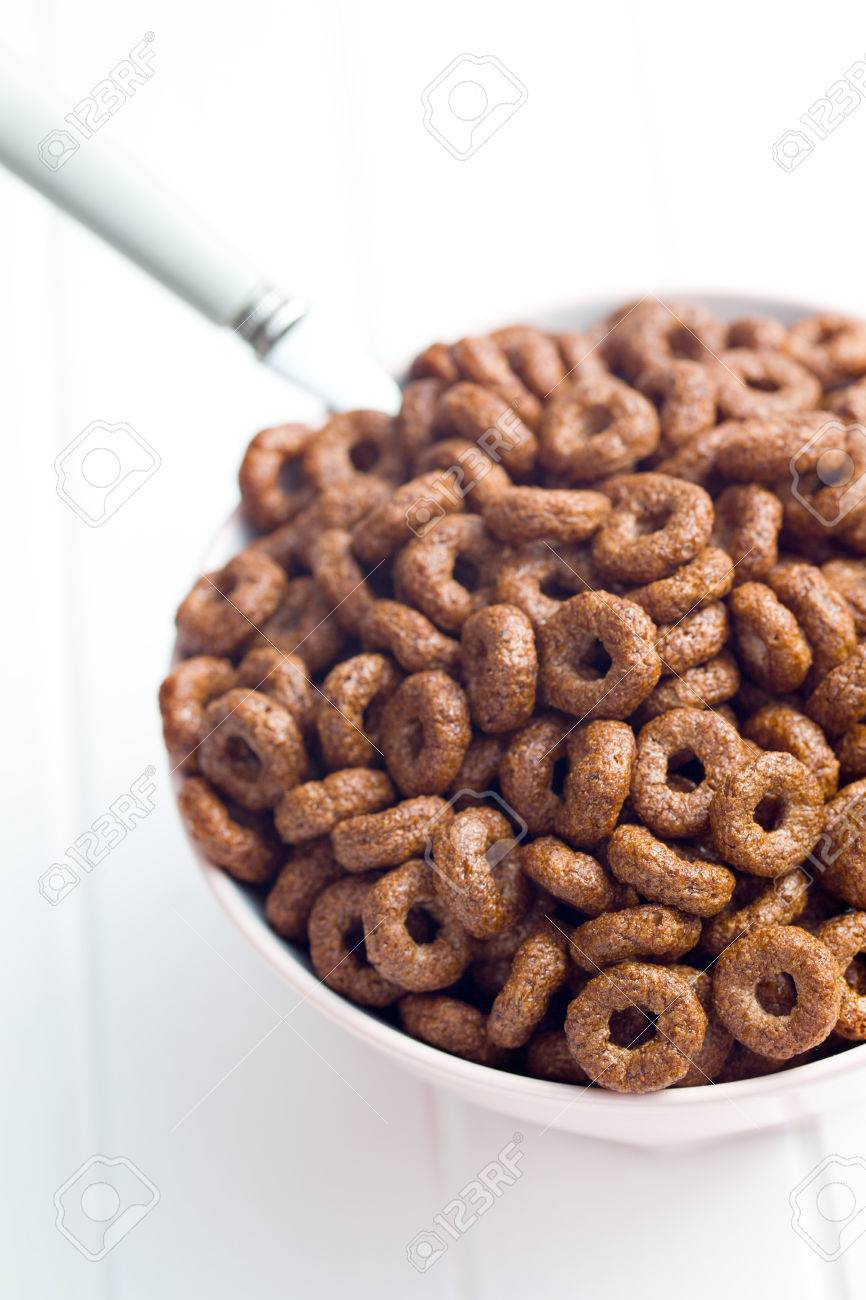 Chocolate Cereal Rings In Bowl Stock Photo, Picture And Royalty ...