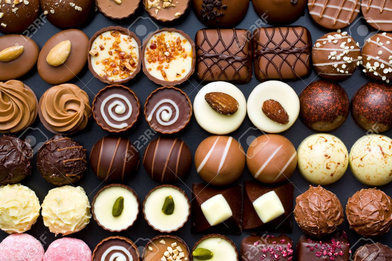 Top View Of Variety Chocolate Pralines Stock Photo, Picture And ...