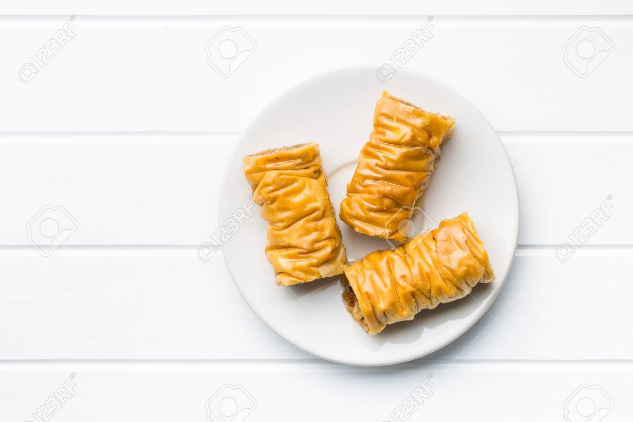 Sweet Dessert Baklava On White Dessert Plate Top View Stock Photo Picture And Royalty Free Image Image 78010608