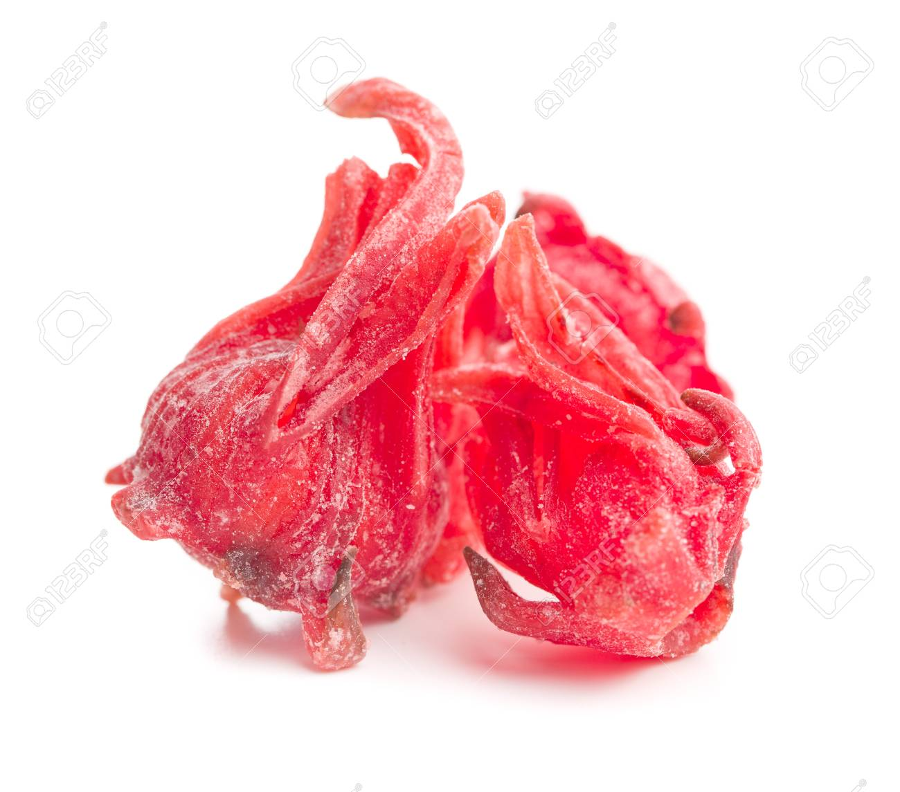 Candied Hibiscus Flower Isolated On White Background